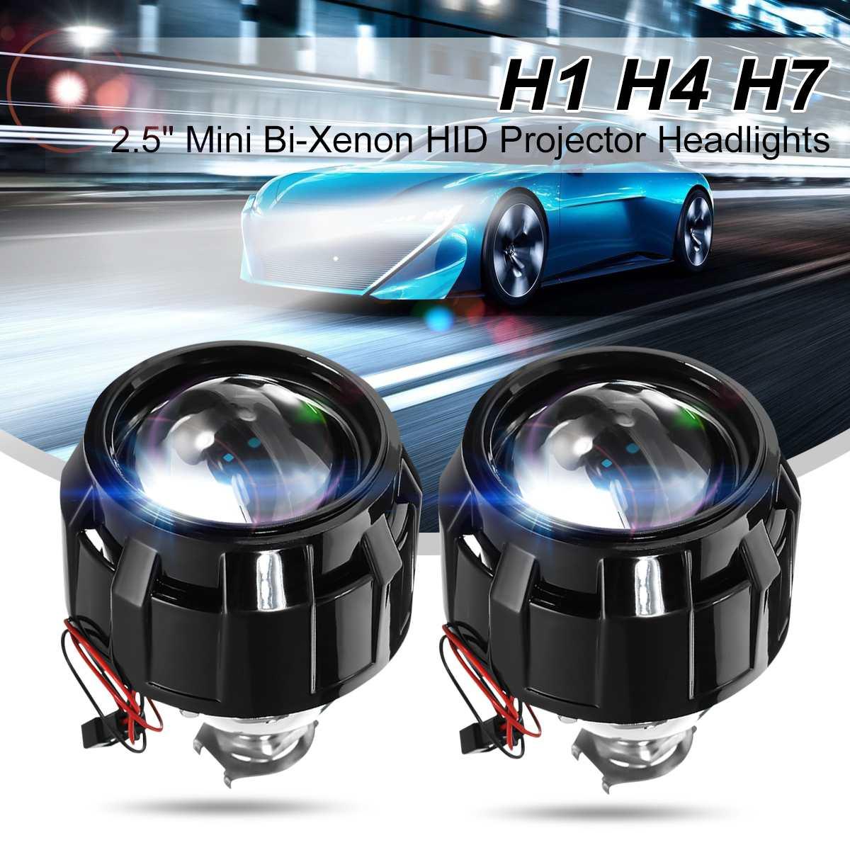 2 x Bi-Xenon HID Mini Retrofit Projectors Lens H1 H7 H4 Shroud For Audi 2016