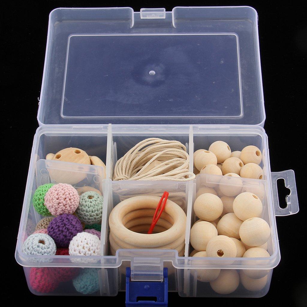 Perles de dentition en bois naturel anneaux de dentition jouets de dentition collier Bracelet bricolage artisanat bébé produits jouets cadeau