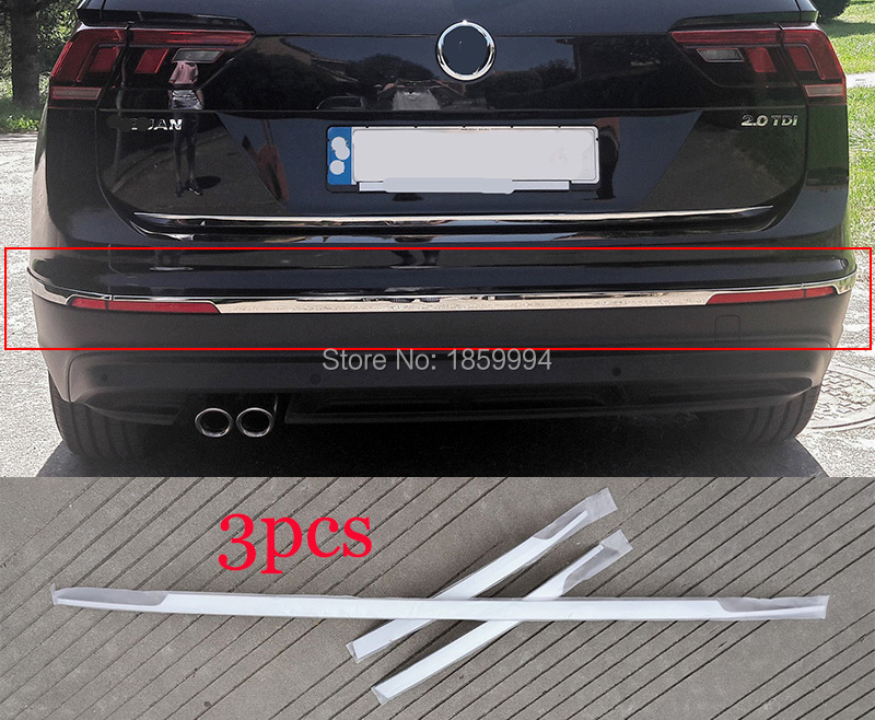 for Europe version 2016 2017 2018 2019 VW Tiguan mk2 all-around package edge car styling  rear bumper  trim cover stickerfor Europe version 2016 2017 2018 2019 VW Tiguan mk2 all-around package edge car styling  rear bumper  trim cover sticker