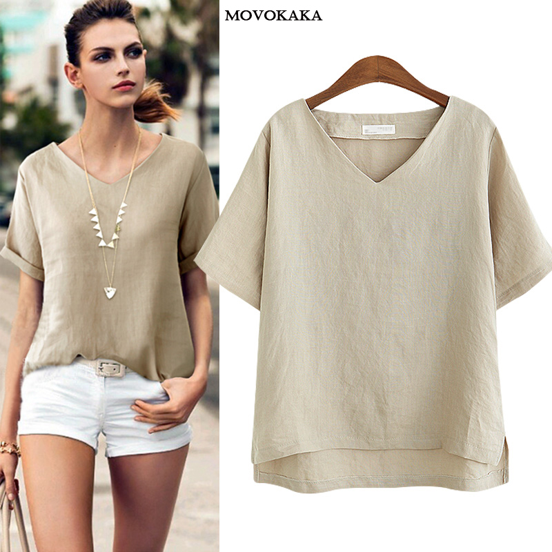New Fashion V-neck T Shirt Women Flax Basic Female TShirt Summer White Sexy TShirt Women Cotton Vintage Loose Thin T Shirts XXXL