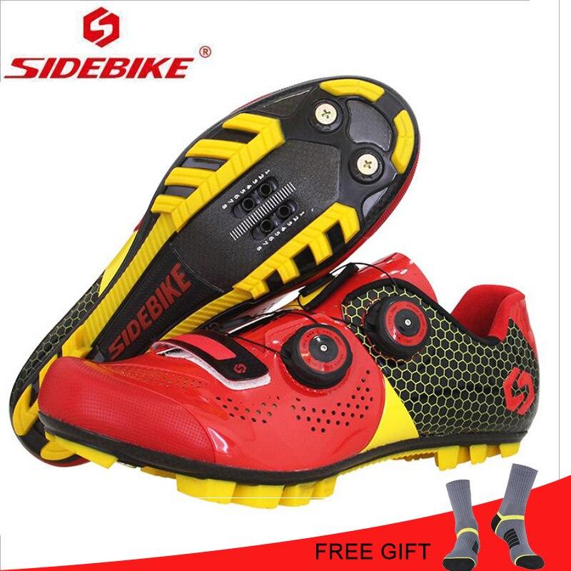Montagne En Fiber De Carbone Montagne VTT Équitation Chaussures Ultra-Léger Synthétique Fiber Hommes Sport Rouge Noir Riding Respirant Vélo Chaussures