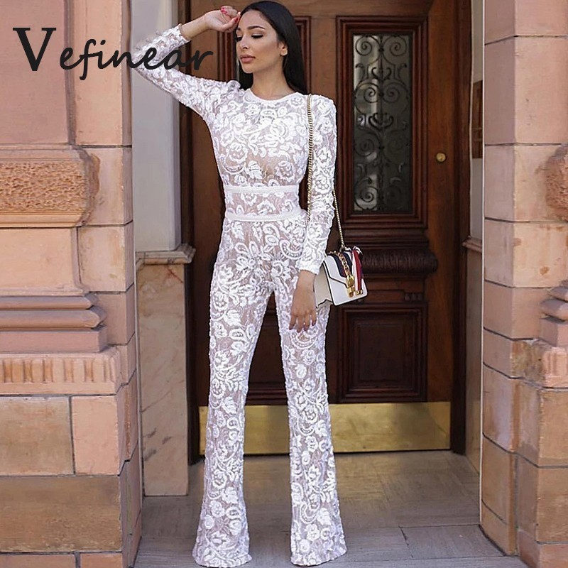 Ladies Long Sleeve Winter Rompers Womens Jumpsuit Mesh Floral Lace Jumpsuit Elegant Vintage White Hollow Out Overalls