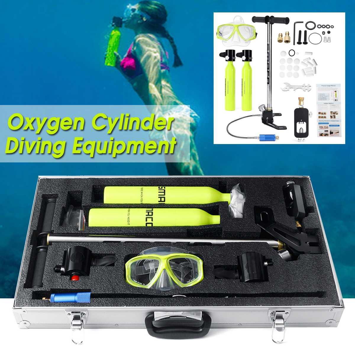 9 pièces deux bouteilles d'oxygène réservoir d'air avec pompe régulateur de respiration engrenage tête de plongée lunettes de plongée équipement de plongée sous-marine réservoir de rechange