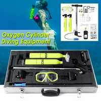 9Pcs Two Oxygen Cylinder Air Tank w/Pump Breathing Regulator Gear Scuba Head Diving Glasses Scuba Diving Equipment Spare Tank