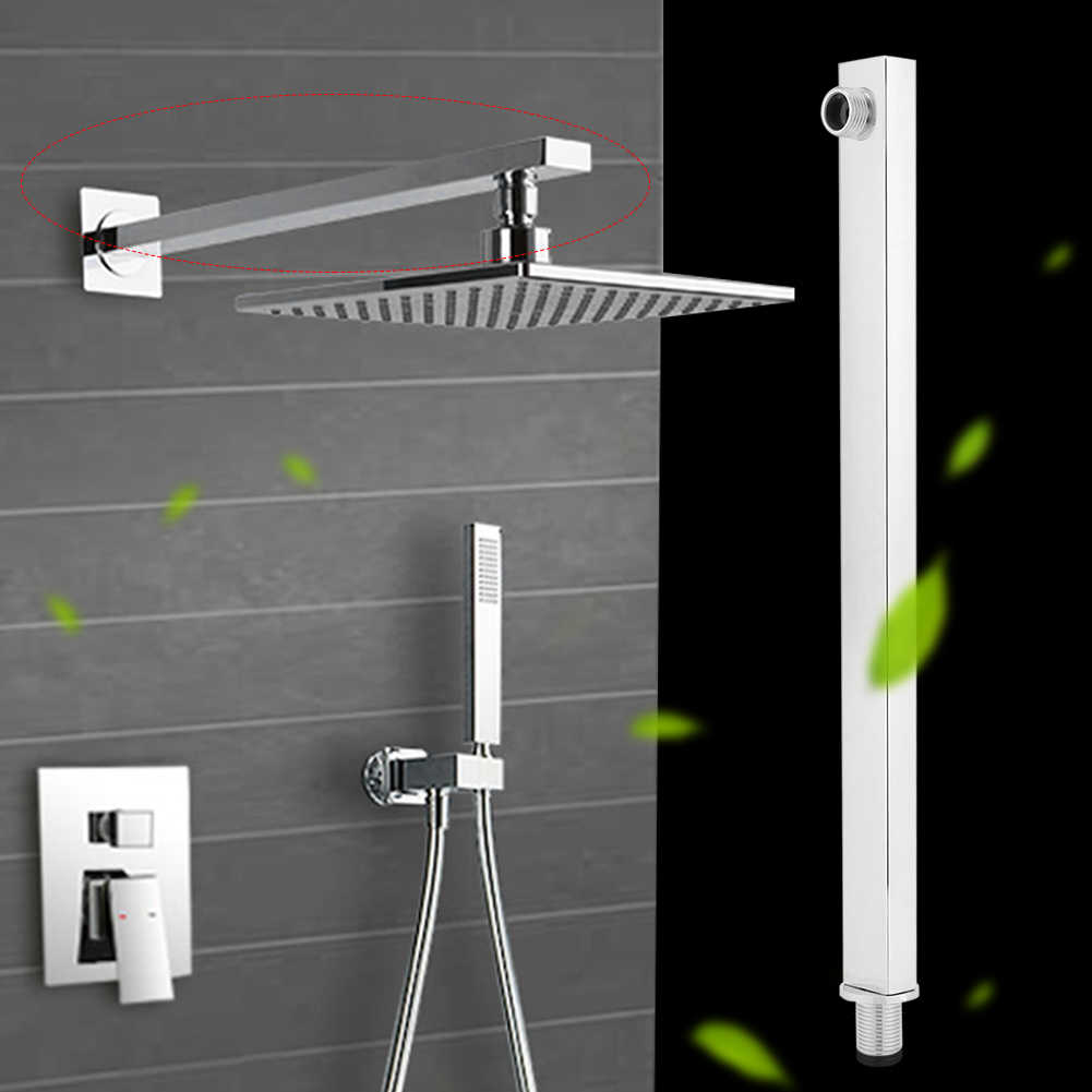 Stainless Steel Shower Extension Arm Wall Mounted Shower Holder Bar Bathroom Install Shower Head Bracket Fixed Pipe Mount Base