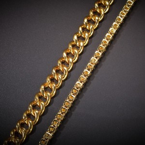 Image 5 - UWIN 2 Necklaces Fashion Hiphop Jewelry 13mm Cuban Link Chain With 5mm Iced Out Rhinestones Tennis Chains Gold Color Necklace