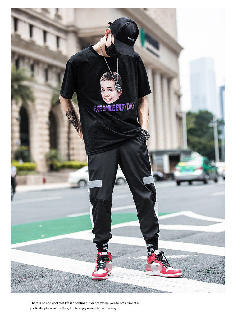 Men Trousers Sweatpants Harem Pants Slacks Casual Dance Patchwork Drawstring Hip Hop Baggy