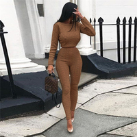 Women Matching Set Outfit High Elastic Sweater Winter Women Suit Plus Size Two Piece Sets Knitted Suit Temperament Cashmere Suit