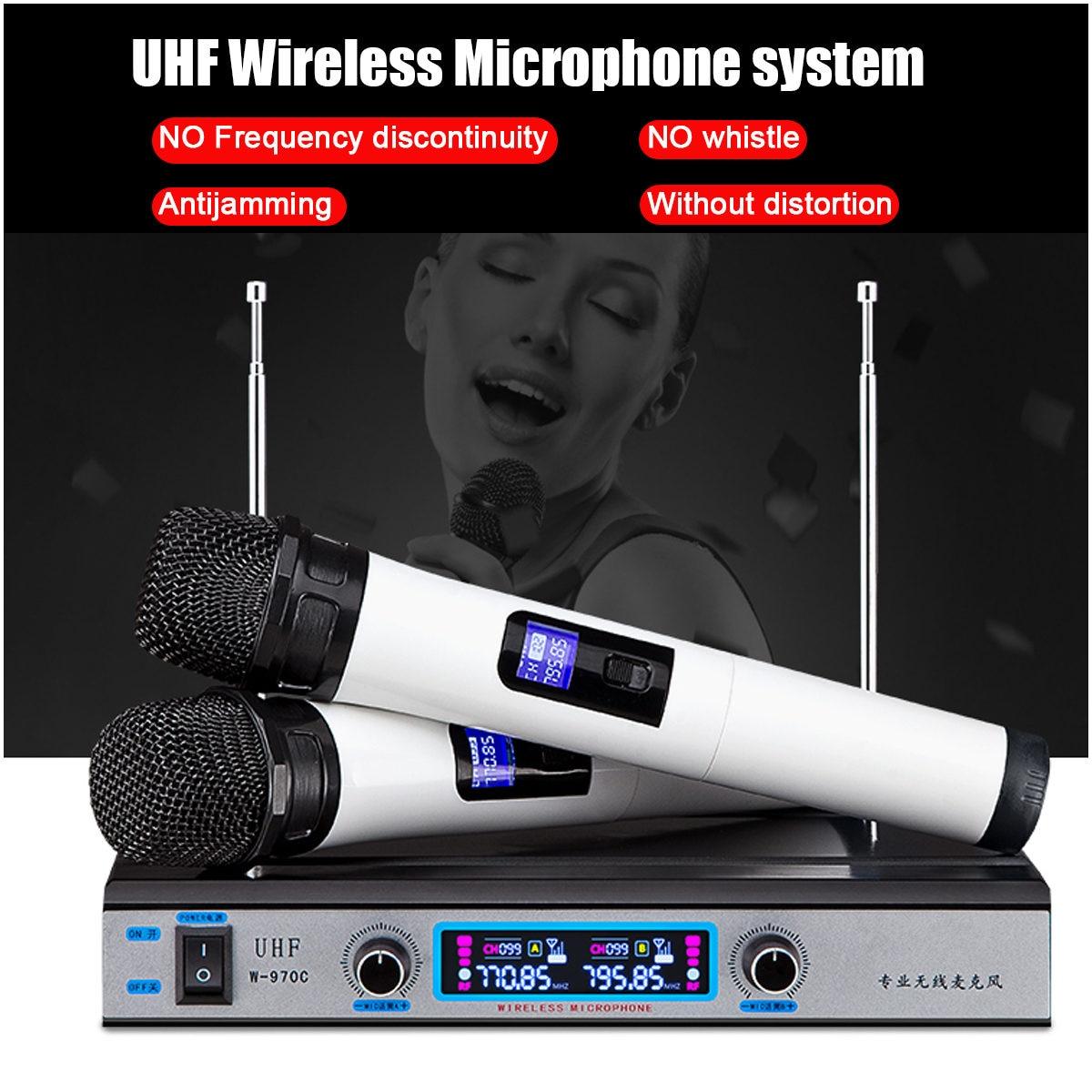 handheld dual uhf wireless microphone system receiver cordless handheld mic kareoke ktv home. Black Bedroom Furniture Sets. Home Design Ideas