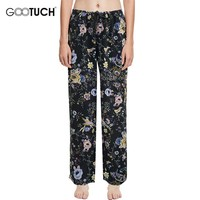 Sleep Bottoms For Women's Pajamas Pants Loose Lounge Pants Drawstring Trousers For Women Sleepwear Floral Print Home Pants 5357