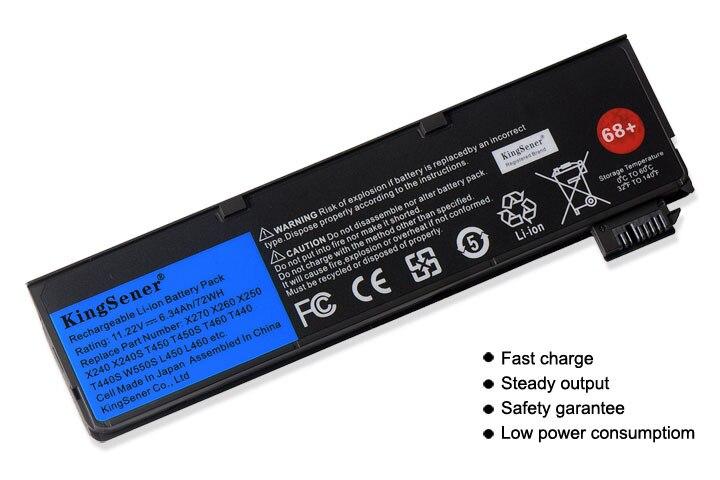 KingSener batterie d'ordinateur portable pour Lenovo Thinkpad X270 X260 X240 X240S X250 T450 T470P T450S T440S K2450 W550S 45N1136 45N1738 68 + - 2