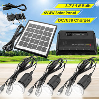 Smuxi Solar Light System 3Pcs 1W LED Solar Lamp 4W 6V Solar Panel Portable Power Bank For Outdoor Camping Emergency Lighting