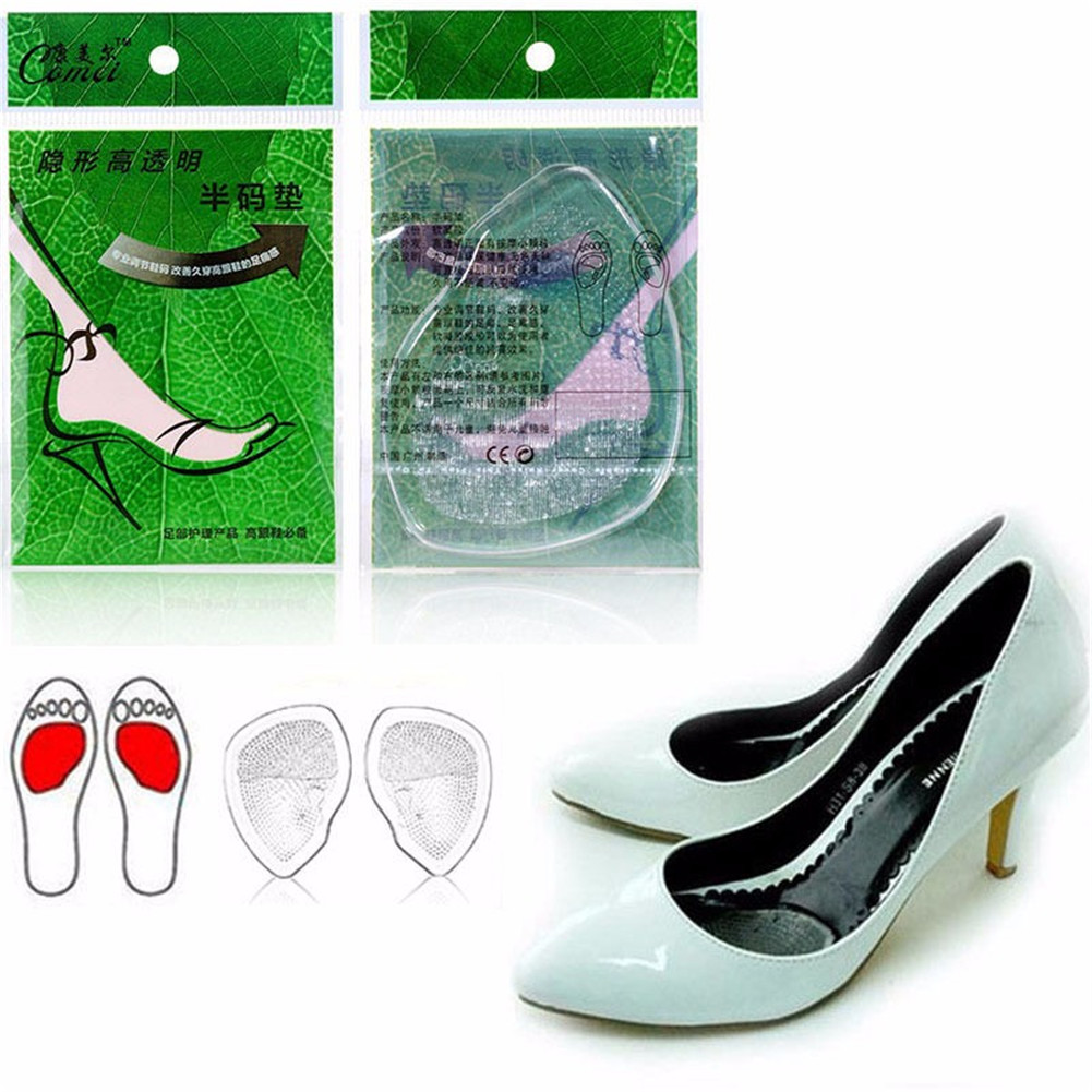 1 Pair Gel Front Insole Re-usable Shoe Inserts Forefoot Gel Pad for Ladies Women