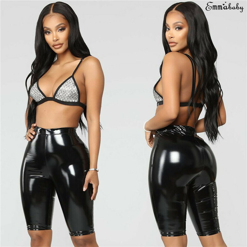 Solid PU Leather Knee Length   Pants   Women Sexy Summer High Waist Stretchy Skinny   Pants     Capris   Lady Fashion Bodycon Short Trousers