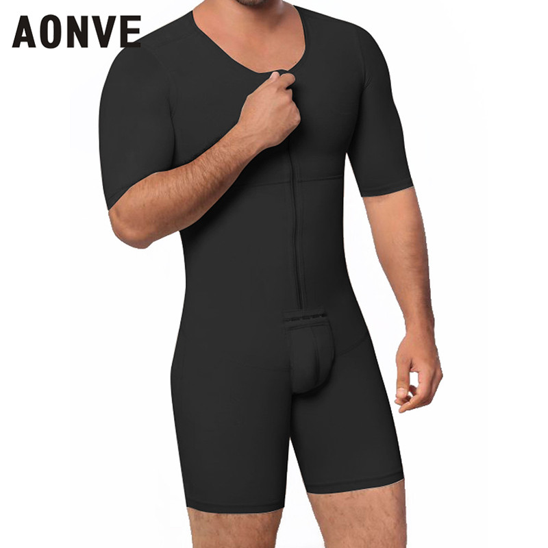 Aonve Bodysuit Men Shaper Body Slimming Butt Lift Leotard Short Sleeves Plus Size Homme Body Modeling Shapewear