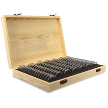 LUDA 100Pcs/Box Wood Coin Display Storage Boxes Round Boxed Holder Home Storage Case Containers For Slab Coin(China)