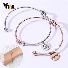 Vnox Free Personalize Name Alphabet Coin Charm Bangle for Women 585 Rose Gold Stainless Steel Open Cuff Bracelets Chic Pulseira(China)