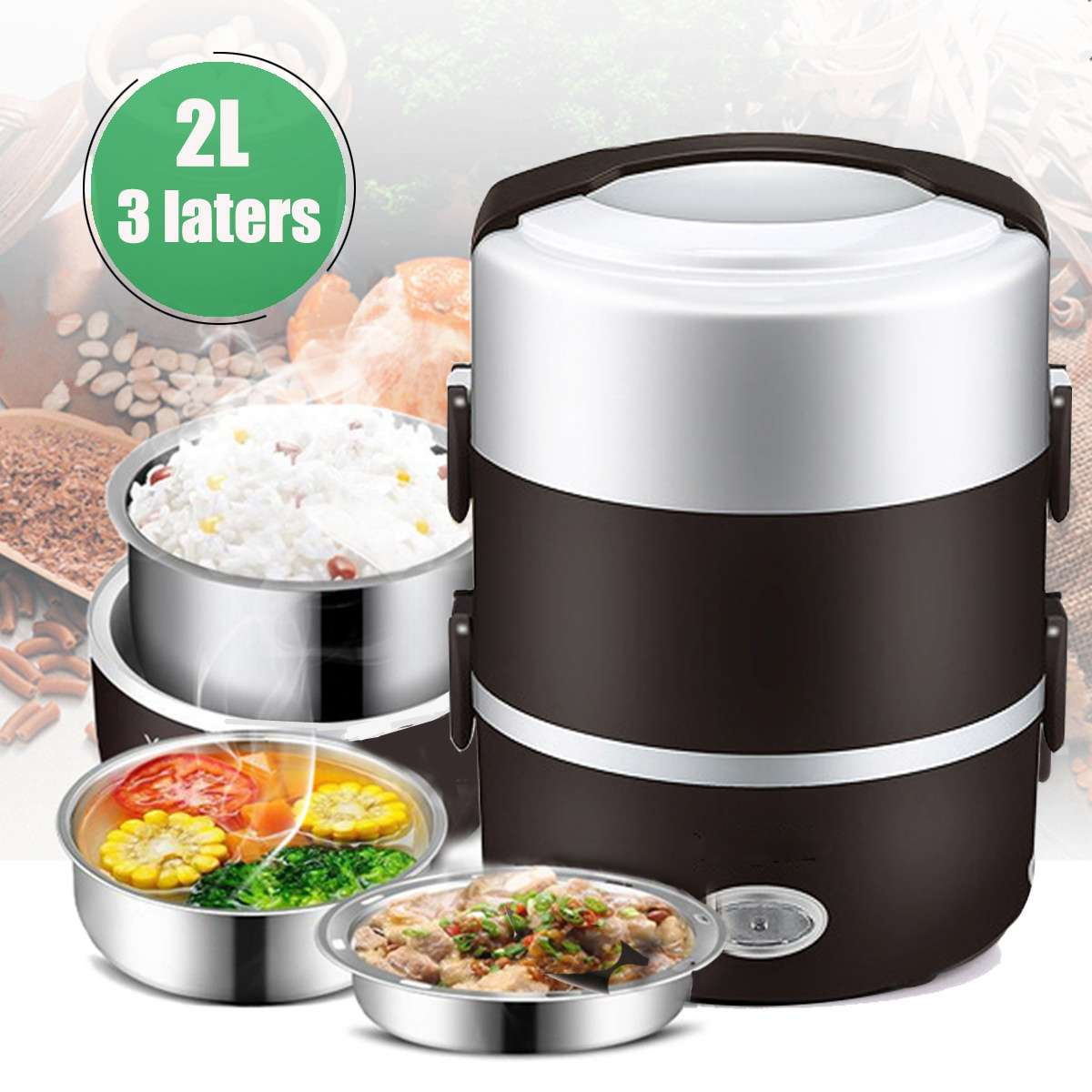 2L 3 Layer Portable Lunch Box Mini Electric Rice Cooker Steamer Meal Thermal Heating Automatic Food Container Warmer Cooking Pot bear dfh s2516 electric box insulation heating lunch box cooking lunch boxes hot meal ceramic gall stainless steel