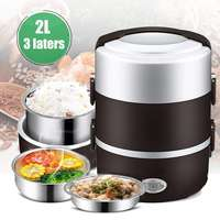 2L 3 Layer Portable Lunch Box Mini Electric Rice Cooker Steamer Meal Thermal Heating Automatic Food Container Warmer Cooking Pot