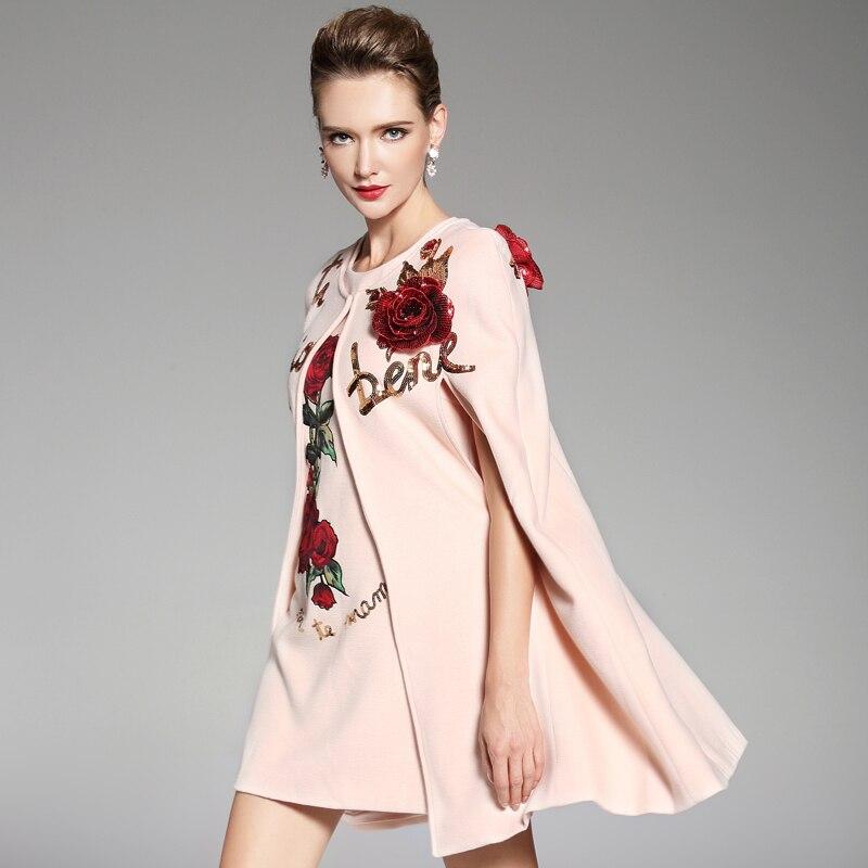 Laine Pièces Chaud De Mode Manteau Élégante Rose D'hiver Ensemble Femmes Deux Pardessus 2018 Piste Les waq0HH