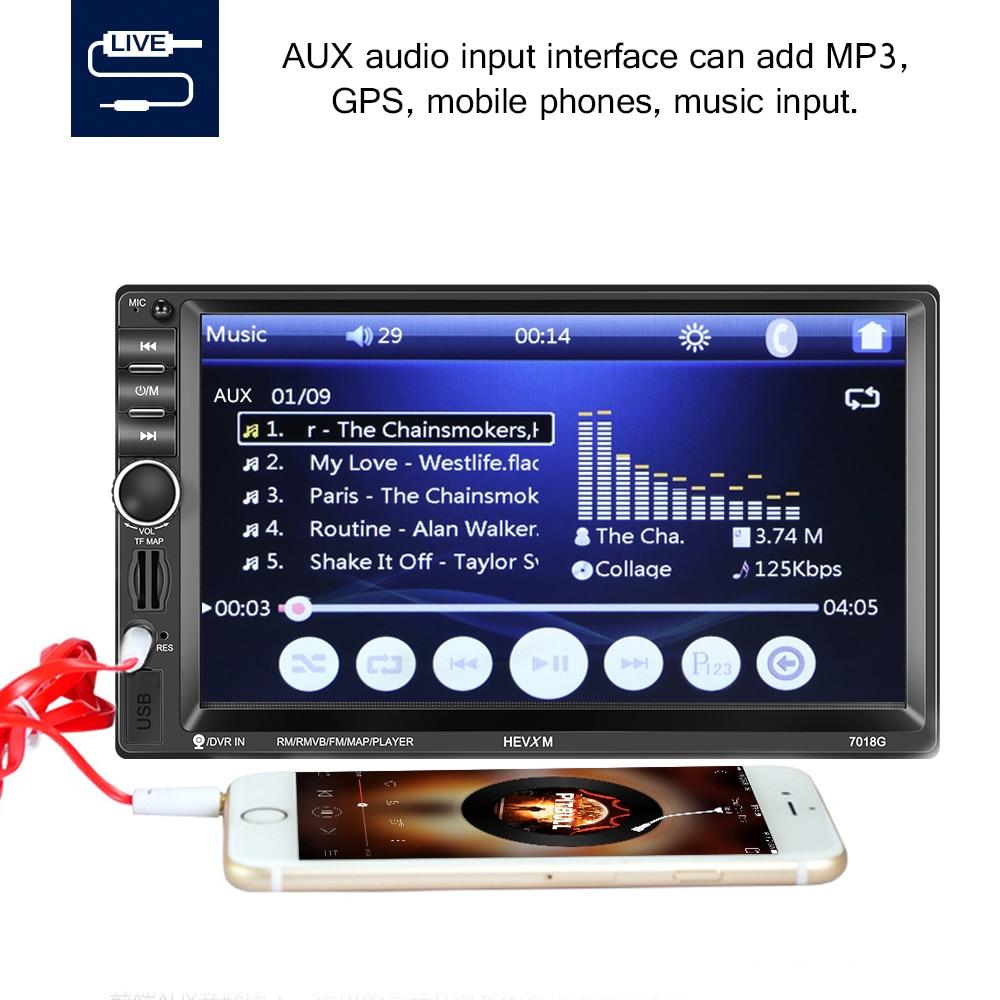 Bluetooth carro estéreo gps navegação duplo ruído no traço 7 Polegada áudio do carro estéreo duplo ruído no traço carro mp5 jogador com tf usb aux