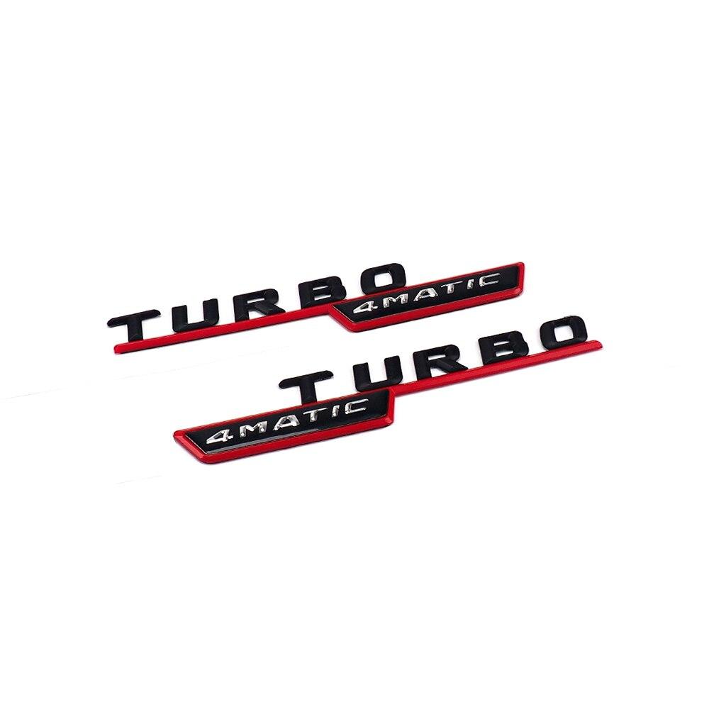 1 para TURBO 4 MATIC Für Mercedes Benz AMG ML GLk Emblem Abzeichen Aufkleber Stamm Hinten Chrome Buchstaben Schwarz Silber rot farben