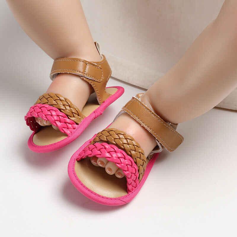 2019 zuecos de verano para niños recién nacidos bebé niña sandalias de verano antideslizante Prewalker chico suave de punto de moda única cuna zapatos