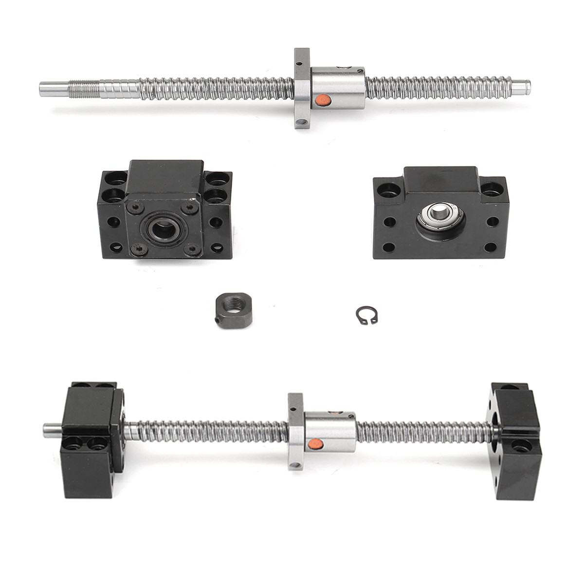250mm Ball Screw Linear Guide End Support Kit SFU1204 with Ballnut BF/BK10 Machining Stainless Steel Ball Screw Fitting Kit250mm Ball Screw Linear Guide End Support Kit SFU1204 with Ballnut BF/BK10 Machining Stainless Steel Ball Screw Fitting Kit