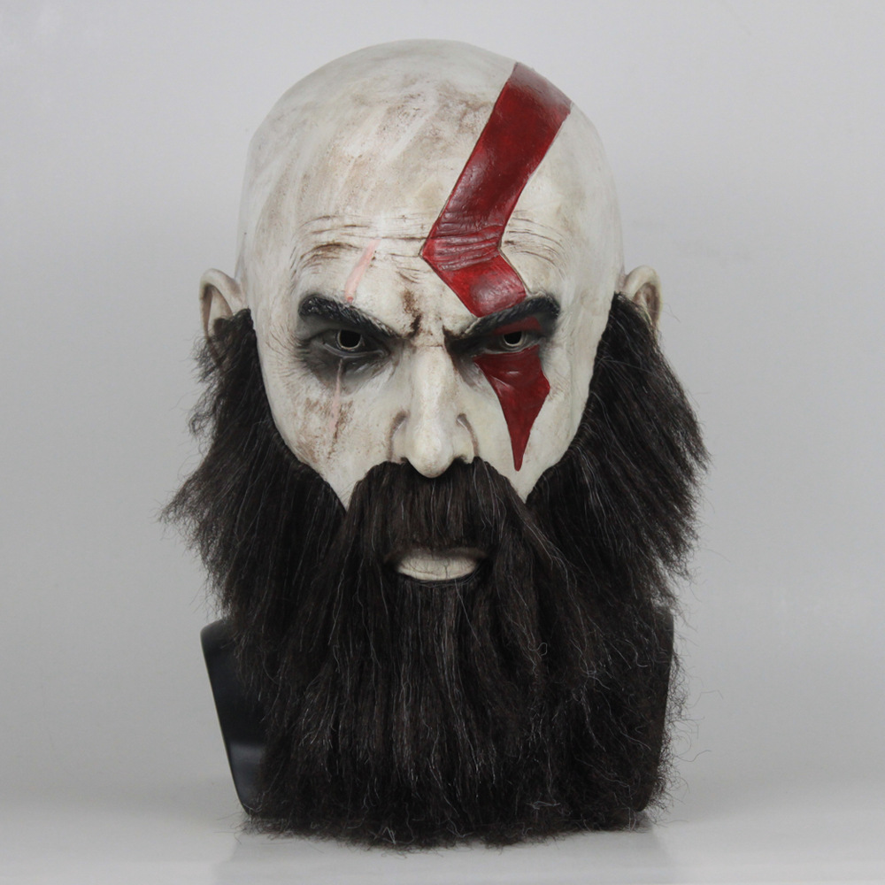 Game God of War 4 Kratos Mask with Beard Cosplay Horror Latex Party Masks Helmet Halloween Scary Party Props Scary Costume