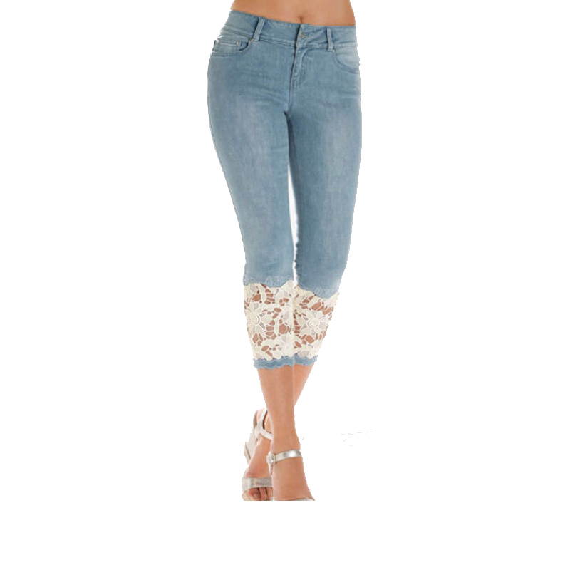 Plus Size Capris Jeans For Women High Waist Skinny Jeans With Lace Leggings Summer Cropped Jeans Women Push Up Denim Pencil Pant