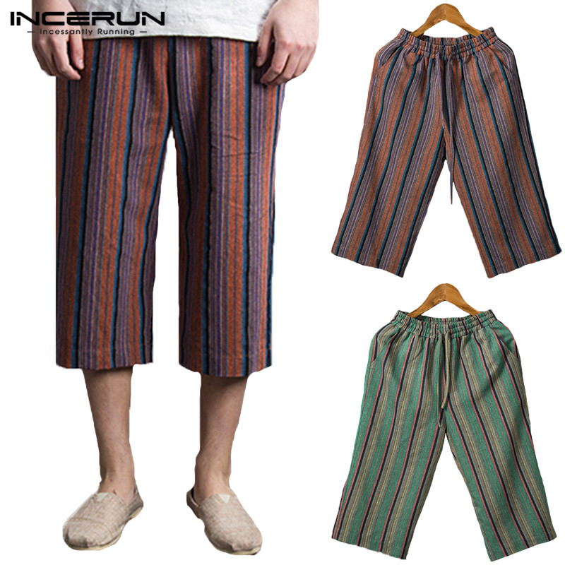 2019 Nepal Bottom Ethnic Striped Trousers Baggy Wide Legs Pants Men Casual Pant Elastic Waist Calf Loose Pantalon Hombre Beach