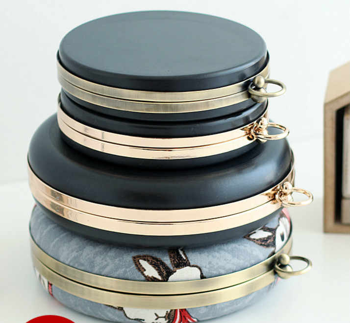 14 / 18cm Dinner Round Case Mouth Gold Box Bag Bring Aures Unitas Metal Purse Frame Wallet Handbag Frame Purse Obag Handle