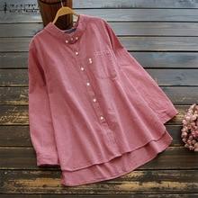 2019 ZANZEA Women Plaid Blouse Ladies Vintage Long Sleeve Check Shirt Casual Button Down Lapel Blusas Chemise Tunic Top Oversize цена и фото