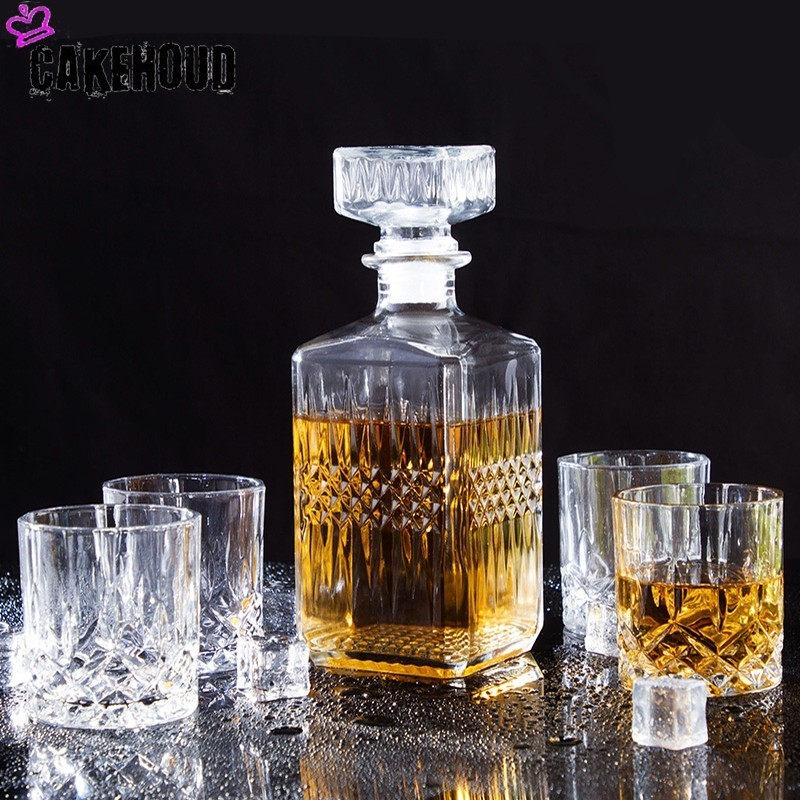 CAKEHOUD Household Russian Vodka Whiskey Decanter And Glasses Bottle Wine Glass Crystal Glass Decanter Group Cocktail Glass