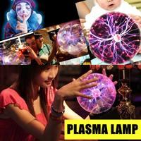 Plasma Lightning Ball 5/6/8 Inch Magic Lighting Sphere Lamp Light Touch Sensitive EU Plug Crystal Table Lamp Novelty Night Color