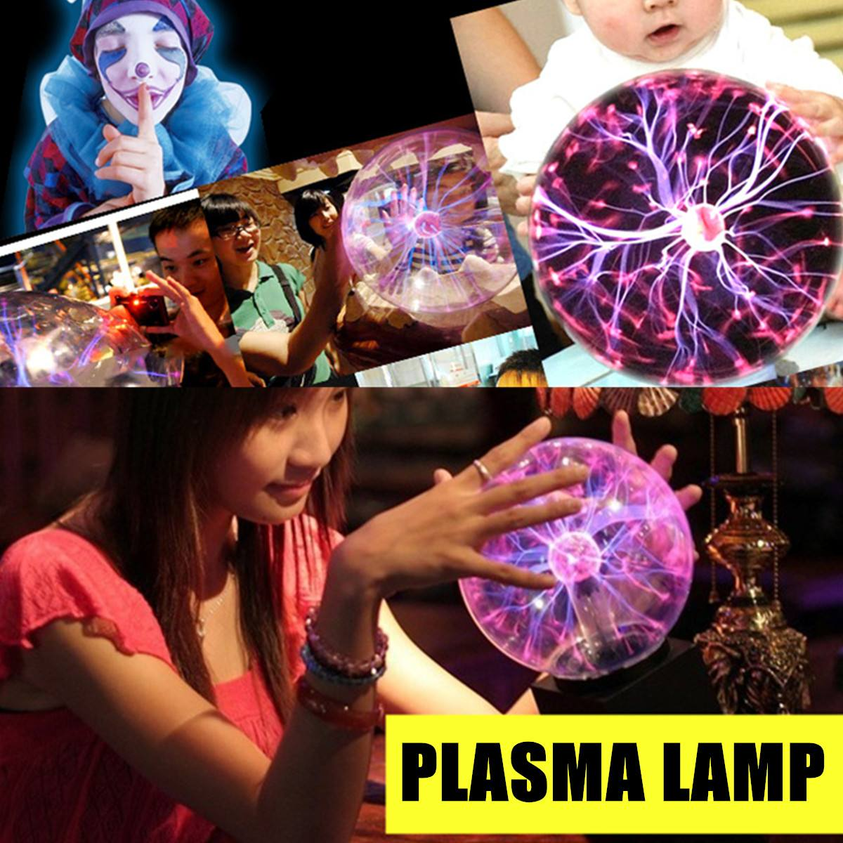 Plasma-Lightning Ball 5/6/8 Inch Magic Lighting Sphere Lamp Light Touch-Sensitive EU Plug Crystal Table Lamp Novelty Night Color