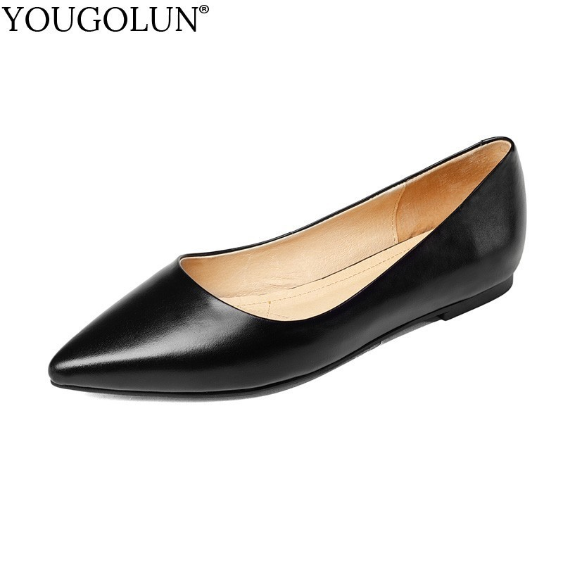Women Flat Shoes Genuine Cow Leather