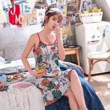 Nightgowns Women Cotton Sleeveless Summer Sexy Sleepwear Plus Size Cartoon Ladies Nightdress Nightwear Sleep
