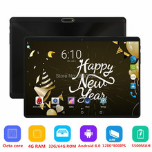 Android 8.0 Tablet 10 Inch Octa Core 3G 4G FDD LTE 4GB RAM 64GB ROM Support Netflix Youtube 2.5D Glasss 1280X800 GPS 10 10.1 pad