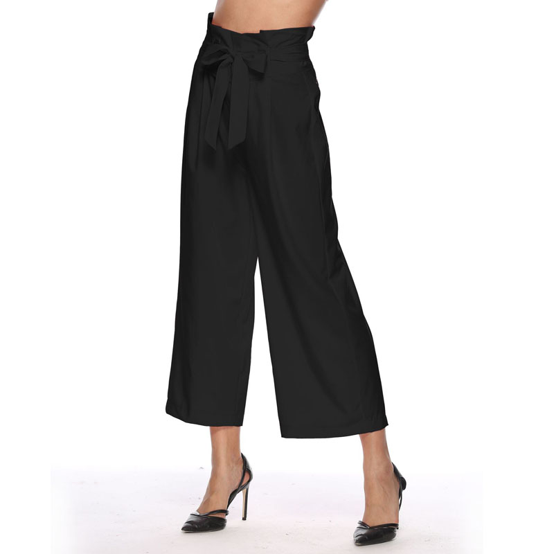 New High Waist Wide Leg   Pant   Women Summer Beach Loose Trousers Chic Streetwear Sash Bandage Belt Casual   Pants     Capris   Female
