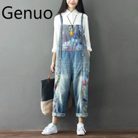 Women Vintage Printed Flower Casual Loose Jumsuits Denim Pants Ladies Bleached Retro Plus Size Denim Overalls Rompers