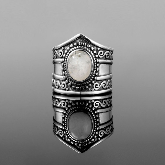 New Vintage Fine Jewelry  7*9MM Big Natural Rainbow Moonstone Rings 925 Sterling Silver For Women Anniversary Gifts