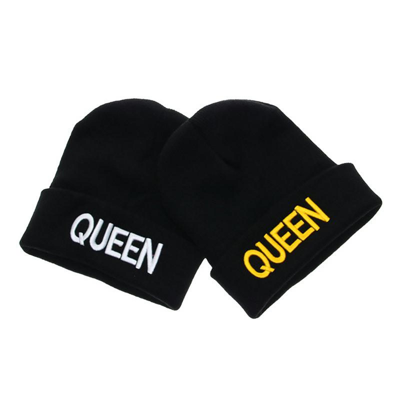 KING QUEEN Hat Winter Hats Couple Bonnet Hip Hop Hot Sale For Men Women Warm Knitted   Cap   Couple Warm Winter   Cap   BLACK