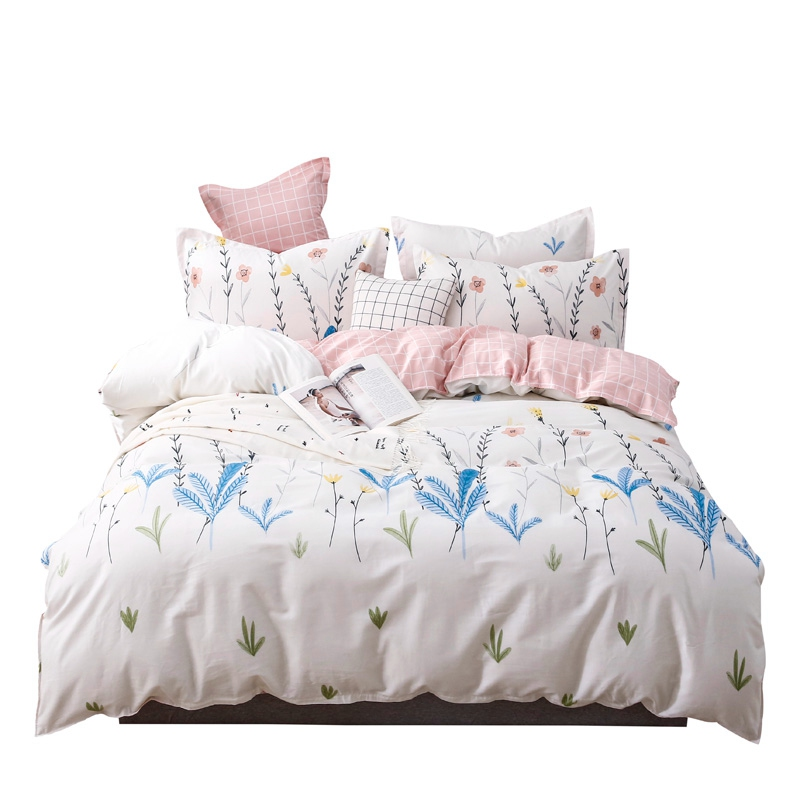 100% cotton flower print bedding sets floral pastoral style duvet cover white pink home textile for boy girl adults 4pcs linen100% cotton flower print bedding sets floral pastoral style duvet cover white pink home textile for boy girl adults 4pcs linen