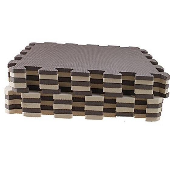 10 Piece Eva Foam Puzzle Exercise Mat Interlocking Floor Tiles Brown+beige