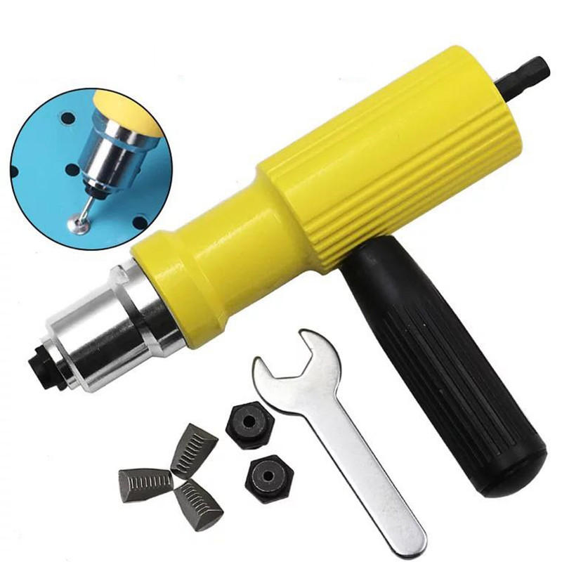 Electric Riveter Nut Gun Riveting Tool Metal Cordless Riveting Drill Adapter