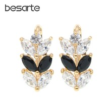 Boucles D'oreilles en or multicolore pour Femme, accessoire de mode féminine, en forme de feuille, E0411