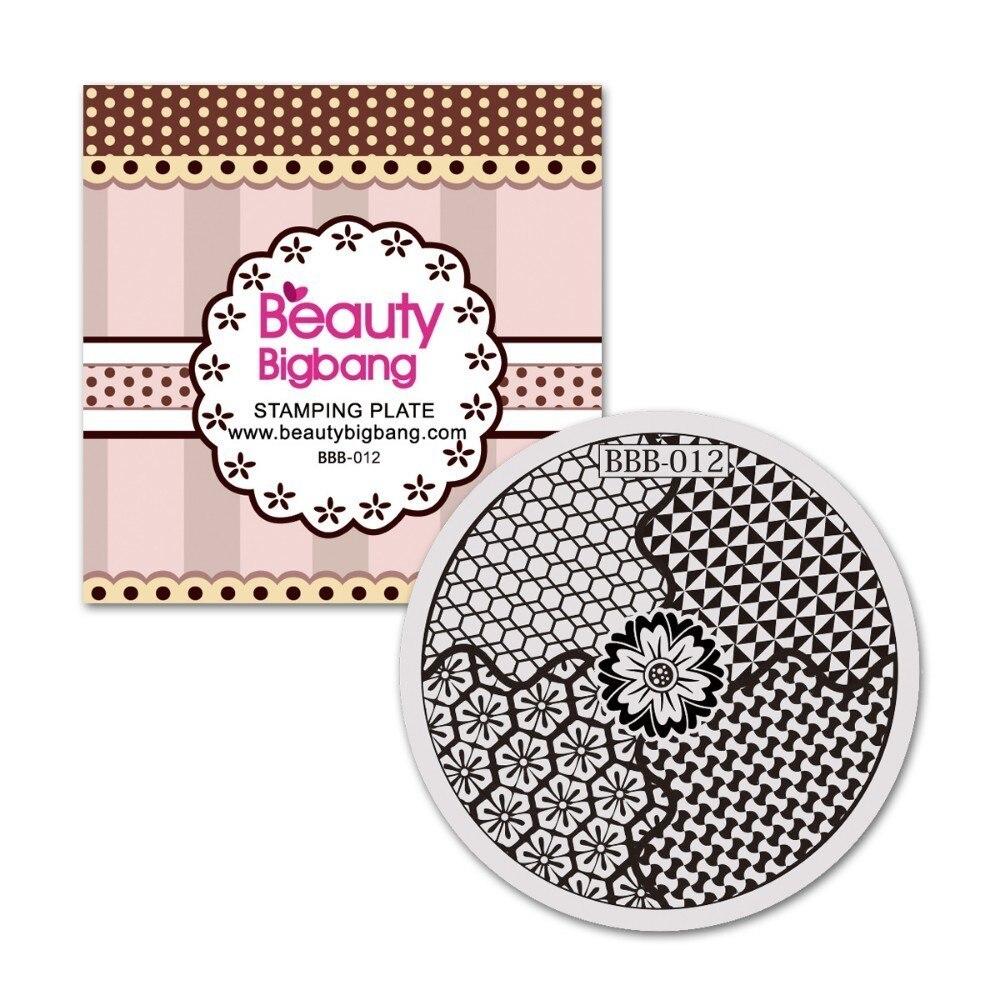 BeautyBigBang Prego Carimbar Placas 5.6 centímetros de Aço Inoxidável Rodada Flores de Transferência de Imagem Polonês Stamper Ferramentas Para Nail Art Polonês