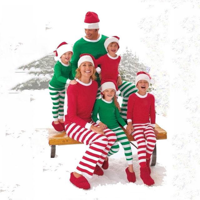Adult Women Men Family Matching Stripe Christmas Pajamas Long Sleeve Cotton  Sleepwear Xmas Pj s Set Family Clothing Sets 2018 b26fa6541