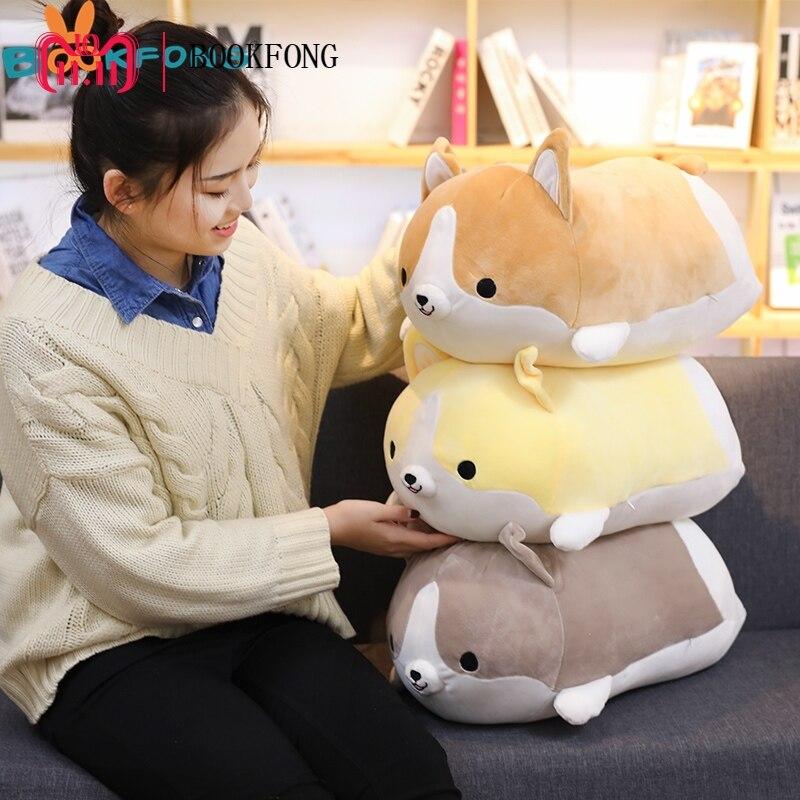 купить 35/45cm Kawaii Corgi Dog Plush Toy Stuffed Soft Animal Cartoon Pillow Lovely Kids Kawaii Birthday Present по цене 522.44 рублей